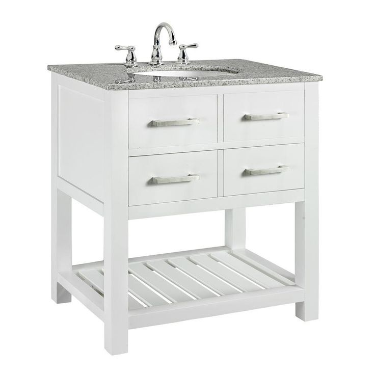 Home Decorators Collection Fraser 31 In. W X 21.5 In. D Vanity In White With Solid Granite