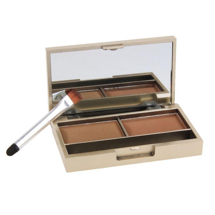 Marca Sopracciglio enhancer professionale brow eye makeup 2 colori sopracciglio impermeabile polvere ombretto sopracciglio make up palette set kit