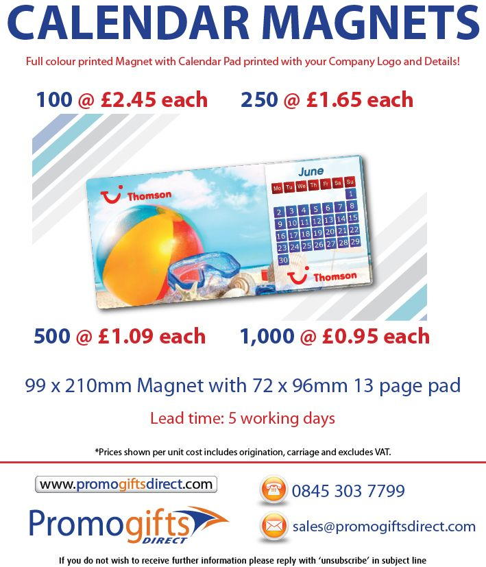 A cracking offer is available this week with our new Calendar Fridge magnets, with a huge print area in full colour. Lead time is only 5 working days with these so there's still plenty of time to order and give out to your clients!  Contact us to order:  0845 303 7799  sales@promogiftsdirect.com