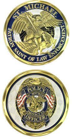 """Saint Michael Law Enforcement Challenge Coin Details: - Top quality Bronze Alloy - Measuring 1 5/8"""" in diameter"""