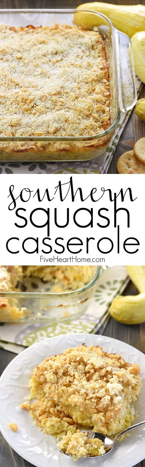 Southern Squash Casserole ~ this cheesy, comforting side dish recipe is loaded with tender sauteed yellow squash, cheddar, Parmesan, and sour cream, then topped with buttery cracker crumbs and baked! | FiveHeartHome.com