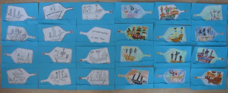 Piratenschip in een fles, n.a.v. VLL kern 7. Groep 3 kleurpotlood op papier, groep 4 grijs potlood op papier