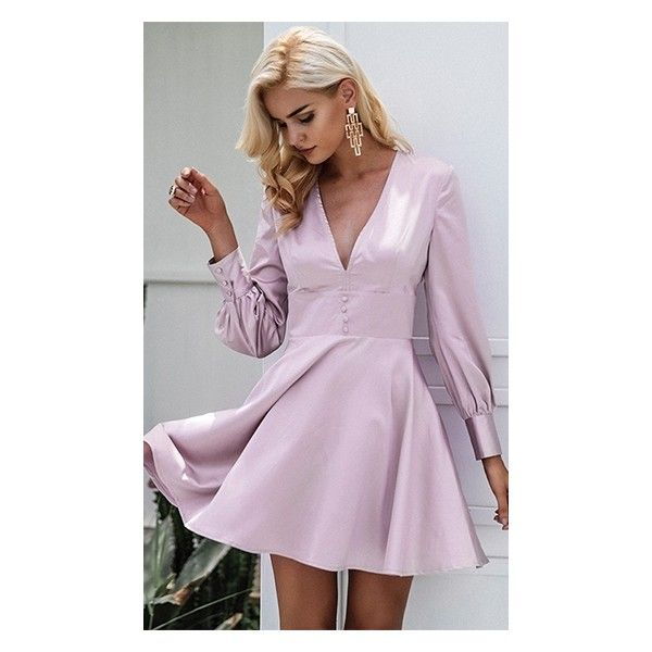 Lilac Lover Light Pink Long Sleeve V Neck Button Waist Flare A Line... (73 AUD) ❤ liked on Polyvore featuring dresses, purple mini dress, long sleeve dress, light pink short dress, long sleeve short dress and long sleeve flare dress