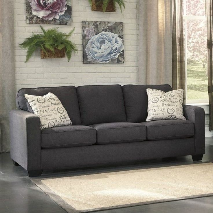 Ashley Furniture Alenya Microfiber Sofa in Charcoal                                                                                                                                                                                 More