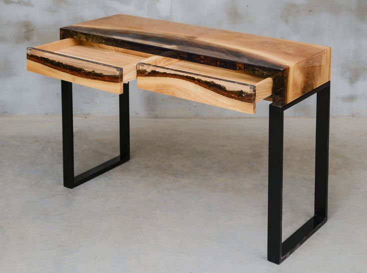 Custom console table with drawers, epoxy table made of aok wood, uv resin table, modern live edge table, unique new home gift, little desk