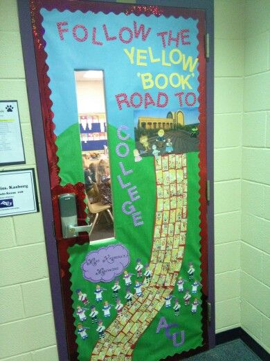 """Go get it"" week door contest at Santa Rita elementary, Midland,Texas, College theme, Abilene Christian university"
