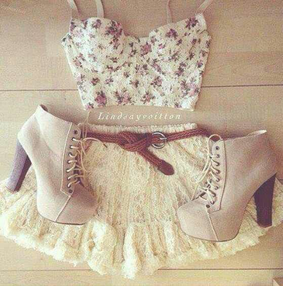 Cropped top. Lace Skirt. Teen Fashion. By-Lily Renee♥ follow (Iheartfashion14).