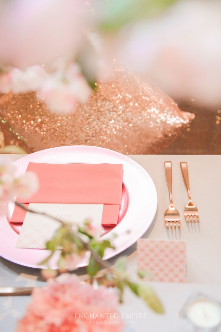 rose gold and soft pink blushed hues were complimented by light grey base linen dusty