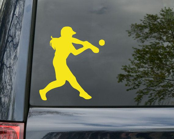 Softball Hitter Vinyl Decal Sticker 5 x 4.25 by MinglewoodTrading