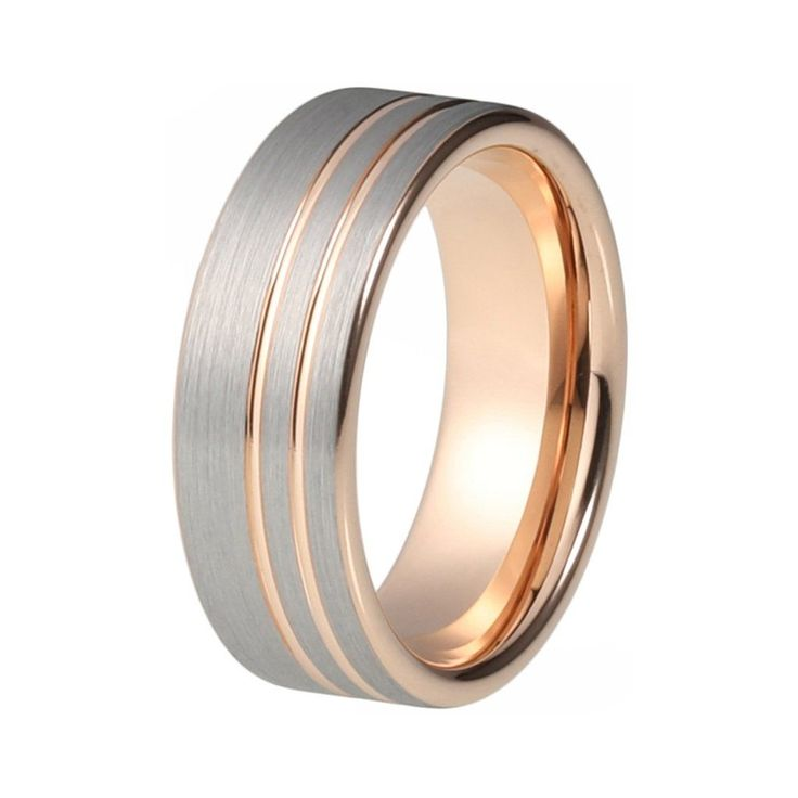 Mens Rose Gold Wedding Band Ring Brushed 8mm Tungsten Carbide Man Wedding Ring Male Engagement Anniversary Beveled Edges Promise Silver Wedding Ring