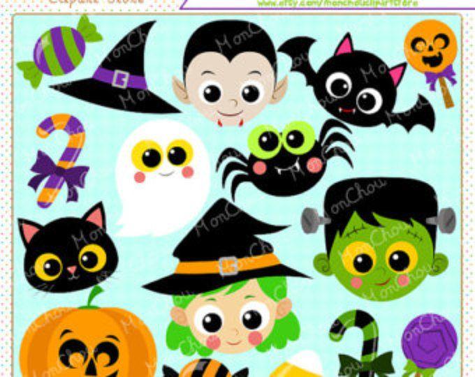 Conjunto de imágenes prediseñadas - para uso comercial y Personal Cliparts enfrenta a diversión de Halloween
