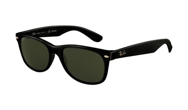 Ray Ban Wayfarer RB2132 Sunglasses Black Frame Crystal Green Polarized Lens