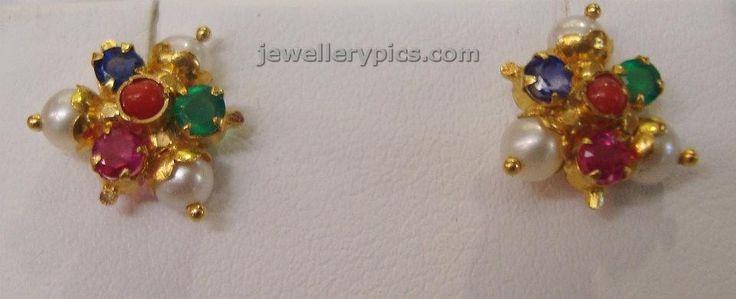 Navaratna ear stud designs by Vummidi jewelrs - Latest Jewellery Designs