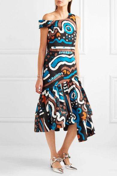 Isa Arfen - Asymmetric Ruffled Printed Cotton-blend Dress - Blue - UK12