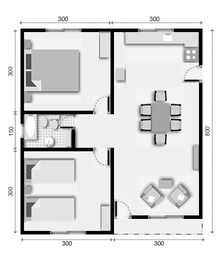 vivienda prefabricada de 2 dormitorios de 48 mts.2 planos