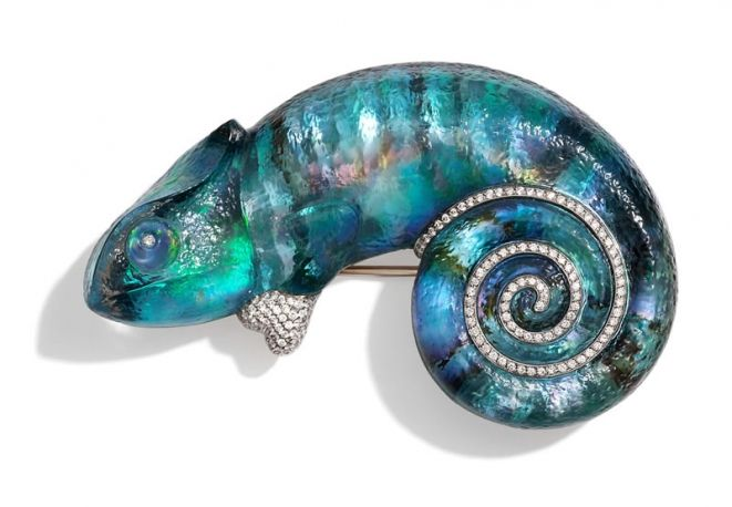 Vhernier, diamonds chameleon brooch