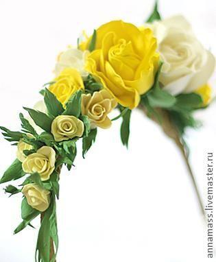 Цветы из фоамирана на ободке