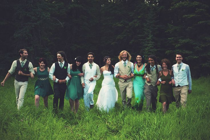 Bohemian wedding, emerald, green, wedding party, boho. Ashley + Devon's Whimsical Boho Wedding | Kismet & Clover {http://kismetandclover.com}