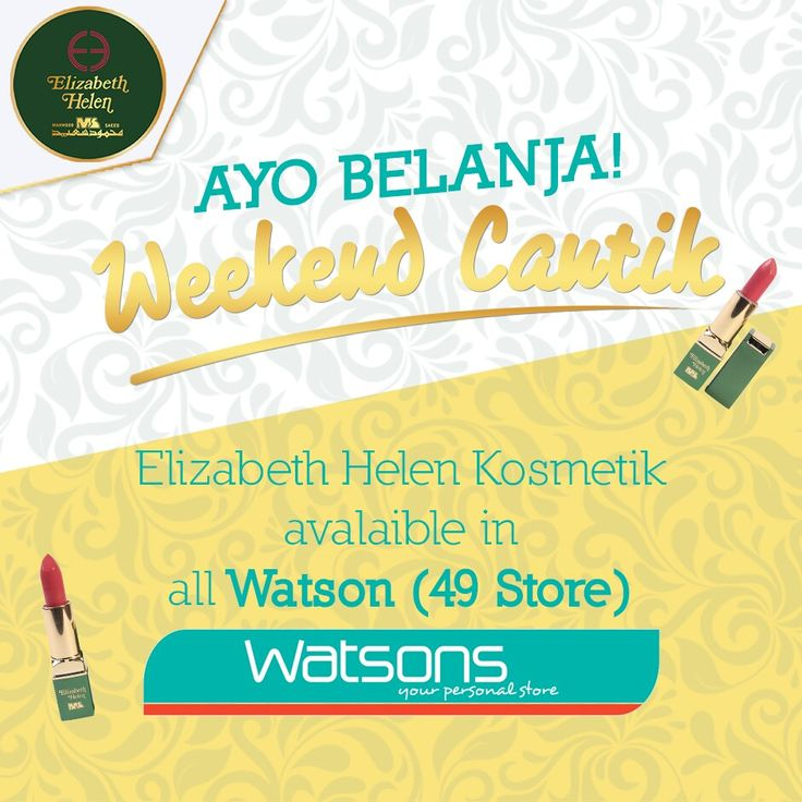 Kamu juga bisa lihat produk-produk Elizabeth Helen di outlet Watson lho ladies. Kamu bisa pilih dari 37 warna lipstik dan produk lainnya yang sesuai dengan dirimu disana, happy shopping 