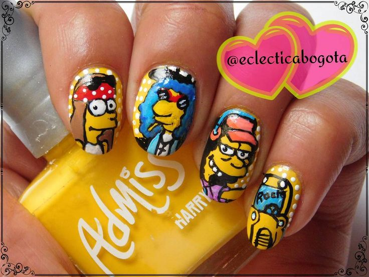 the simpsons nailart . yellow nails and rock music icons by eclectica