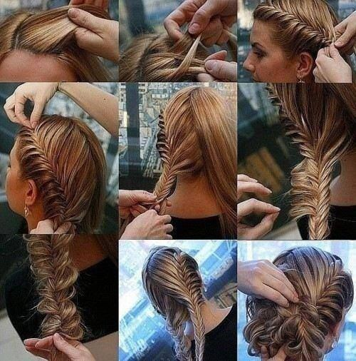 Peinado recogido con trenza espiga