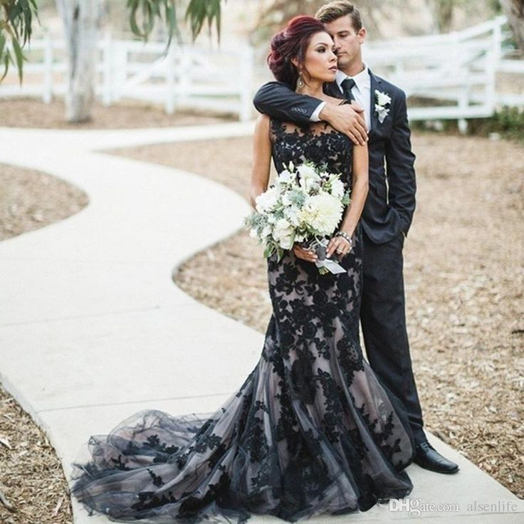 Buy wholesale fashion black gothic mermaid wedding dresses 2017 lace custom made bride bridal wedding gowns sweep train robe de mariage which is at a discount now. alsenlife has guaranteed its quality. unique wedding gowns, wedding dress for bride and wedding dress online shop are all in the list of superb dresses.