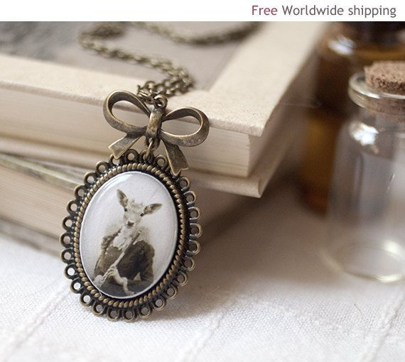 Lady Deer necklace  Victorian jewelry  Unique gift by BeautySpot, $27.00Necklaces Victorian, Jewelry Funky, Dear Deer, Deer Accessories, Jewelry N063, Lady Deer, Victorian Necklaces, Deer Necklaces, Victorian Jewelry