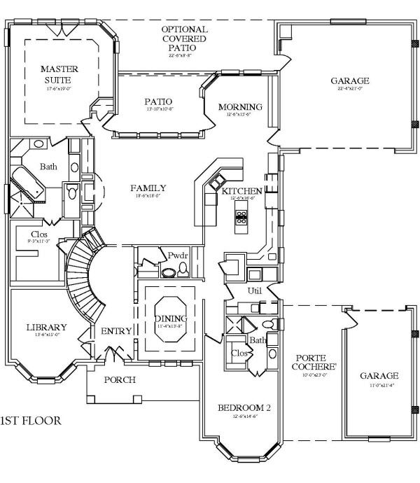 House plan with porte cochere good starting point no for Porte cochere home plans