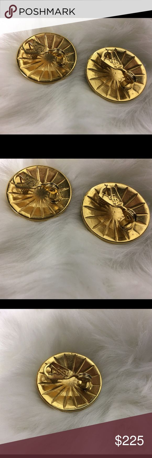 Vintage earrings YSL RARE Yves's Saint Laurent Rare vintage black and gold YSL earrings Yves Saint Laurent Accessories