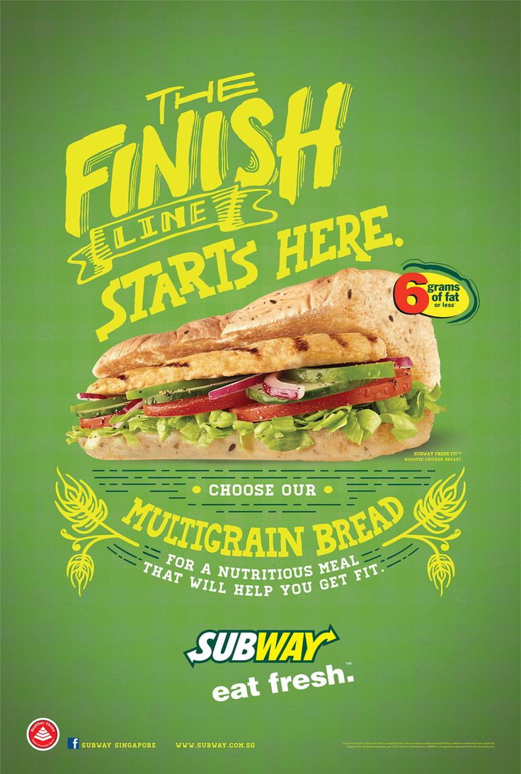 A poster by Subway, making smart use of the healthy food trend in restaurants. Of course they are take-away food so even more important to focus on the unique selling points. Like offering healthier options.