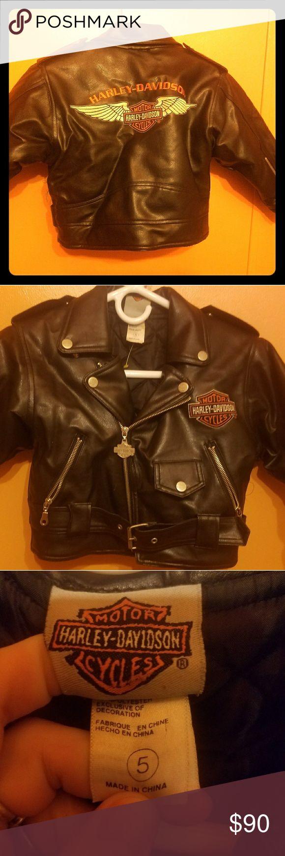 Kid's leather Harley Davidson leather jacket Black leather Harley Davidson jacket. Size 5 children's. Harley-Davidson Jackets & Coats Puffers