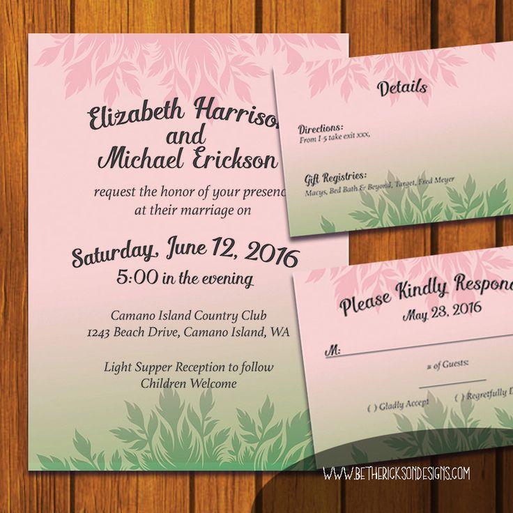 bridal shower invitations registry etiquette%0A Bohemian Invitation   Floral Bohemian Wedding Suite   Inviation Suite    Pastel Pink   Rose Quartz