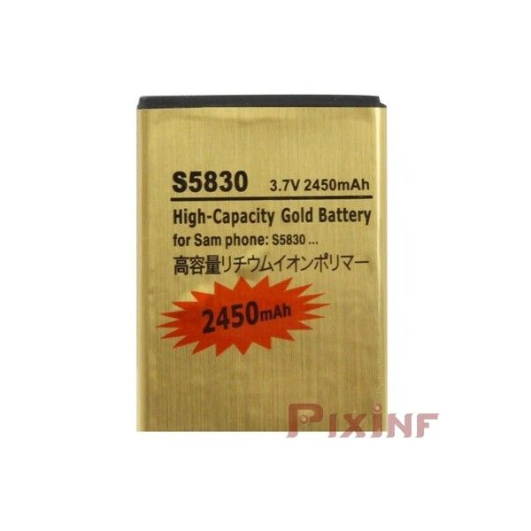 Gold Battery for Samsung Galaxy Ace GT-S5830, GT-S5660 Gio, Fit GT-S5670 - 2450mAhLarge capacity battery compatible with Samsung GT-S5830 Galaxy Ace, Gio GT-S5660, GT-S5670 Fit ... Gold mobile batteries are the best batteries on the market.It is because high quality of Japanese technology, offering maximum durability and reliability.These batteries Gold Ultra capacity are developed and tested to ensure maximum performance and quality. Designed and developed from Japanese technology, this…