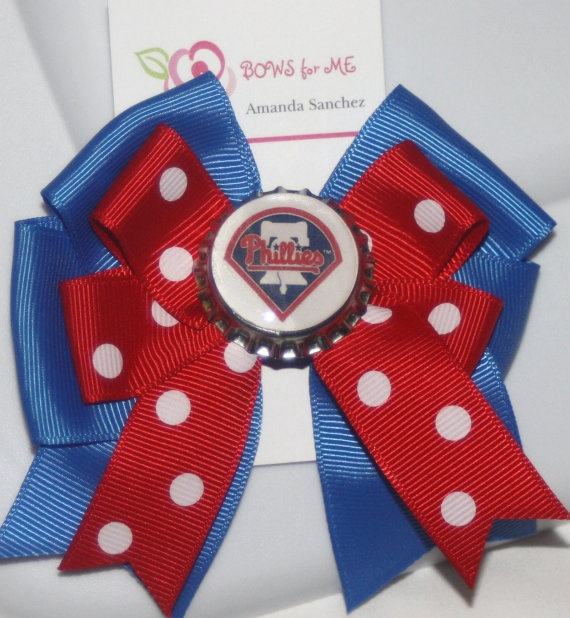 Philadelphia Phillies Bow by bowsforme on Etsy, $6.99: Bowsforme, 6 99, Etsy, Random, Philadelphia Phillies, Phillies Bow, Accessories, Hair, Sports Fans