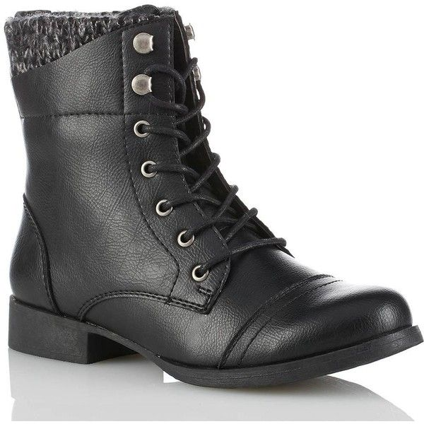 Sweater Ankle Combat Boots Boots found on Polyvore