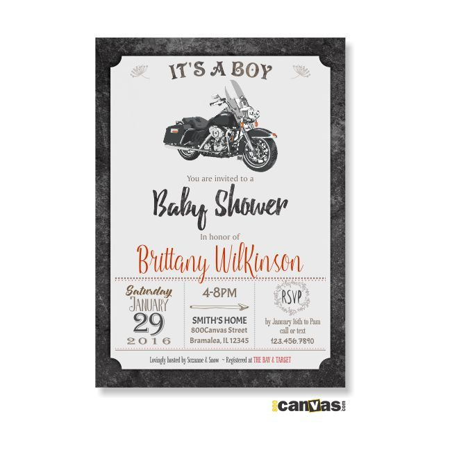 MOTORCYCLE BABY Shower Invitation. Motorbike Baby Shower Invite. It's A Boy Baby…