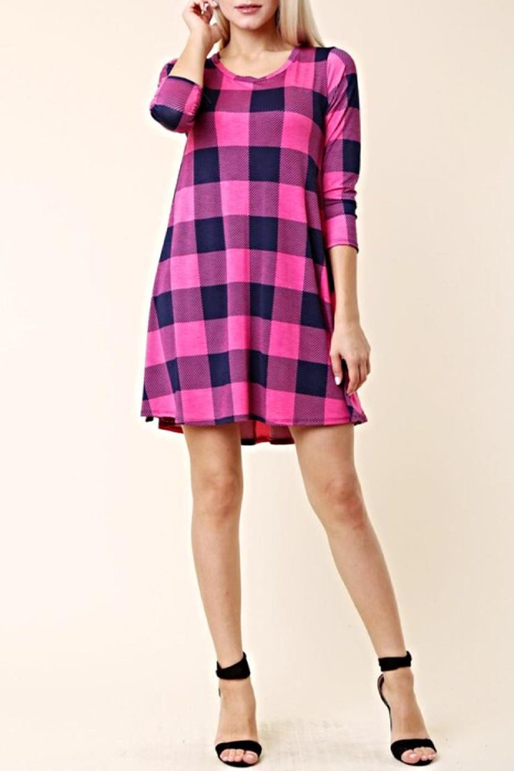 This adorable checkered plaid is the perfect color combo! Pink and navy buffalo plaid tunic/mini dress can be worn alone or paired with your favorite leggings. It has pockets! Super comfy! Best seller-almost sold out!  Pink Plaid Tunic  by KITTY COUTURE . Clothing - Tops - Tunics Alabama