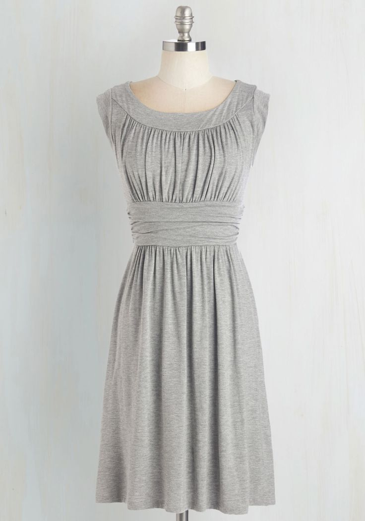I Love Your Dress in Stone. You'll really feel the adoration while wearing this heather-grey dress! #grey #modcloth
