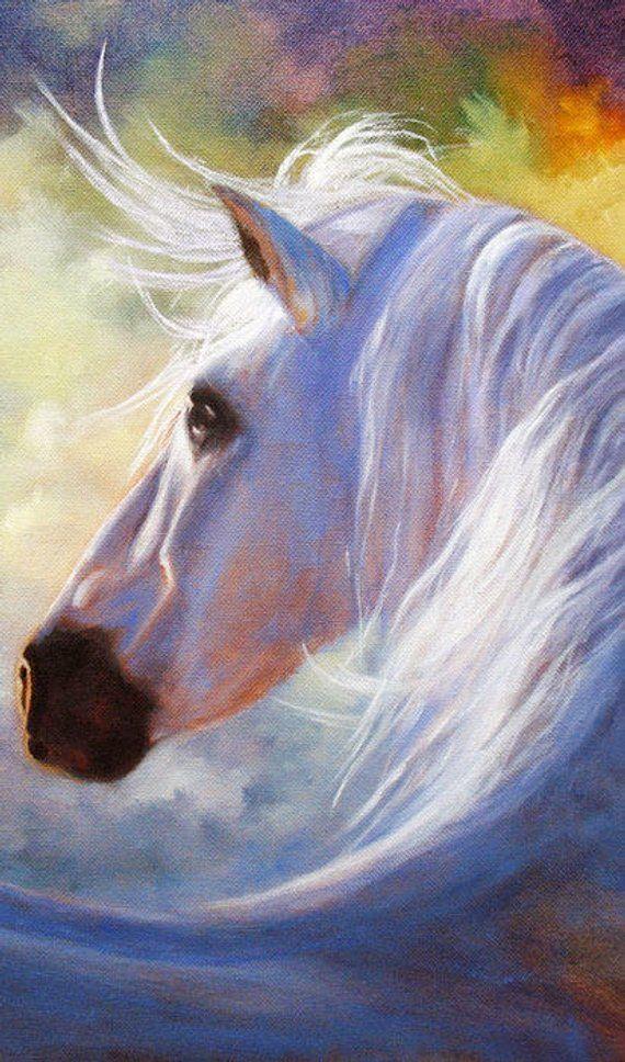 Horse Print Poster Horse Art White Horse Equine Art Wall Etsy