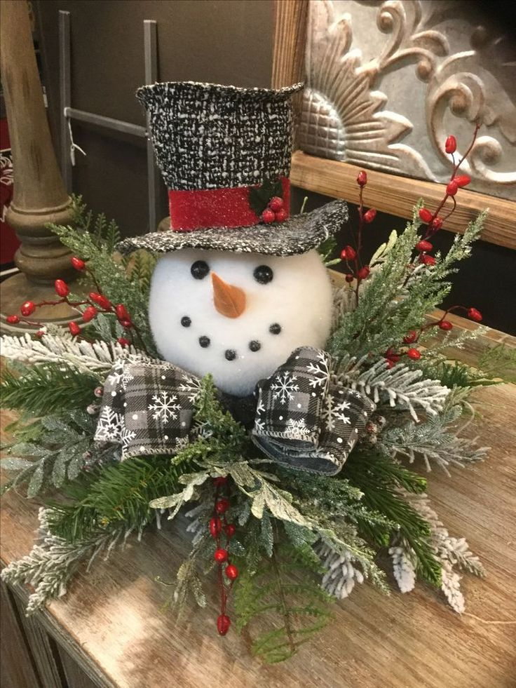 Winter Snowman Centerpiece Decoration Made With Styrofoam