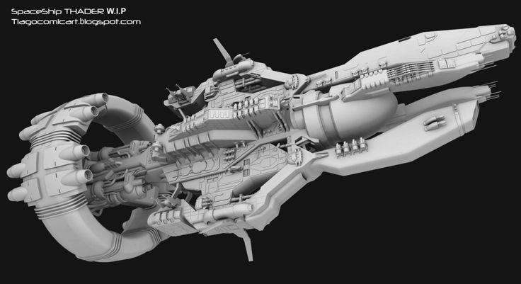 Spaceship Thader clay Wip 12 by Tiagocomicart