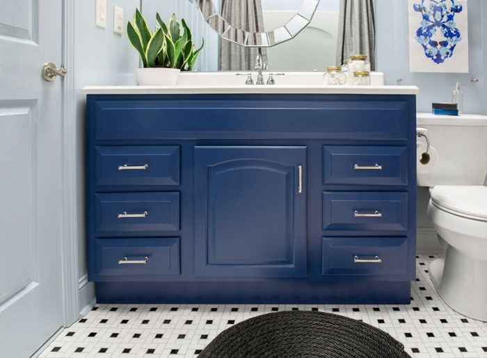 Cabinets: Dress Blues in the HGTV Home by Sherwin Williams line  Wall paint: HGTV HOME by Sherwin-Williams Tranquil Vibe