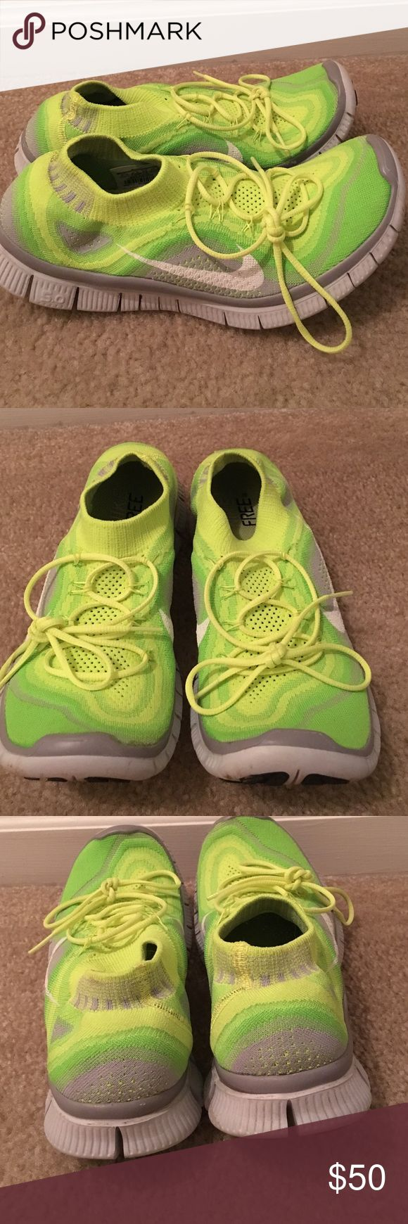 Neon yellow Nike free 5.0 Nike free 5.0 neon yellow shoes. Size 9.5 Nike Shoes Athletic Shoes