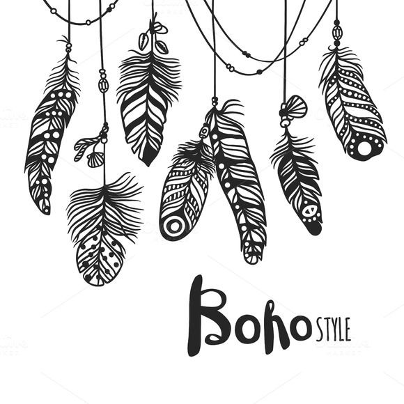 Boho feather hand drawn vector by Vector-Stock on @creativemarket