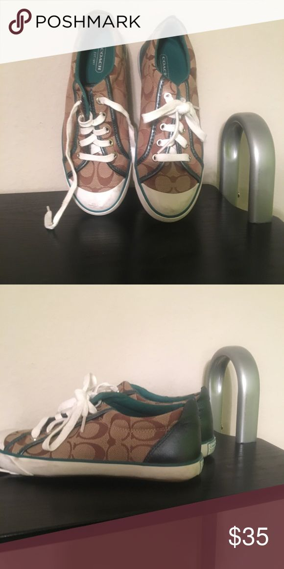 Coach Tennis Shoes Cute Coach Tennis Shoes! Like new. Dark turquoise on the inside. Size 7.5. Smoke free home. Coach Shoes