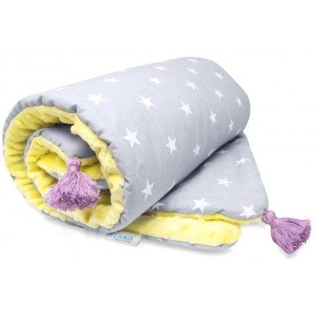 """Kocyk Minky """"Yellow&Violet""""Cat of the Moon. Cieplutki, mięciutki, delikatny, całkowicie bezpieczny nawet dla delikatnej  skóry niemowlaka."""
