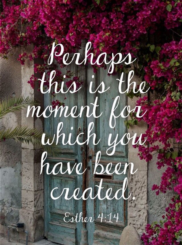 """Perhaps this is the moment for which you have been created."" ~Esther 4:14"