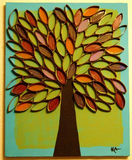 tree painting - toilet paper roll art