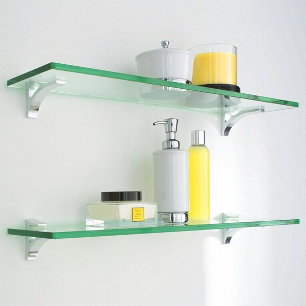 Glass Shelf Clip Kits come complete with a sleek glass shelf and gleaming chrome clip brackets for a clean, uncluttered look. | Shelving SALE