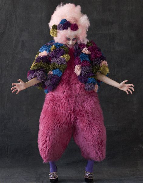 pink fluffy arm-waving clown (Jumpsuit by Louise Gray) - Freak Show photoshoot by Reed + Rader